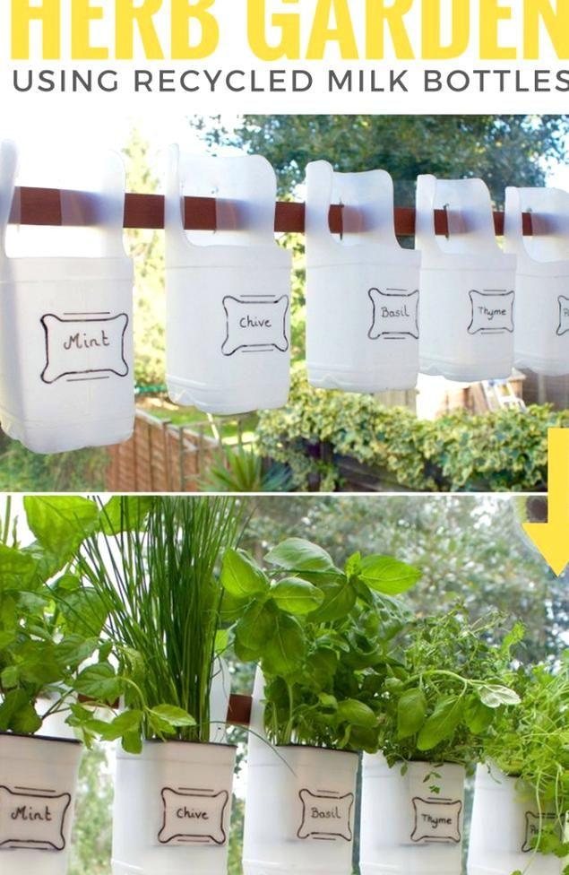 Plastic Milk Jug Planter Herb Garden In 2020 Large Garden Pots Fragrant Garden Garden