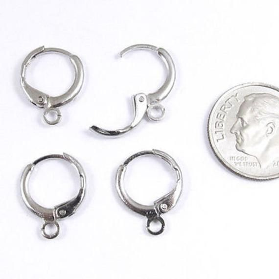 Silver Plated Brass 4 Pair Leverback Pierced Huggie Earring With Loop