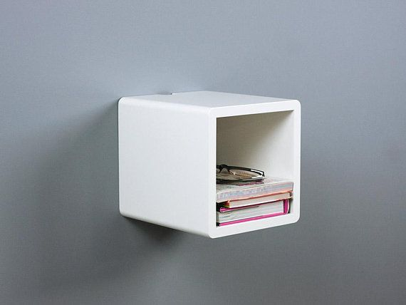 Mini Cubby Floating Nightstand Small Wall Mount Bedside Table Wall Mounted Bedside Table Modern Floating Nightstand Narrow Bedside Table
