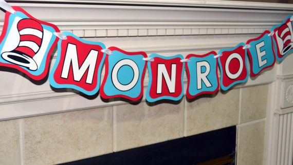 Custom Dr. Seuss Name Banner, Personalized Name Banner, Cat in the Hat Custom Decorations, Custom Birthday Banner