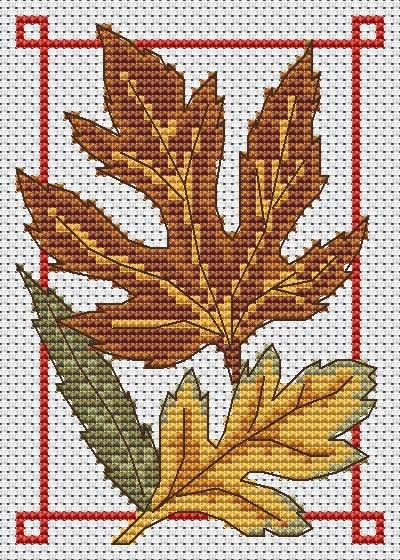 Autumn leaves free cross stitch chart