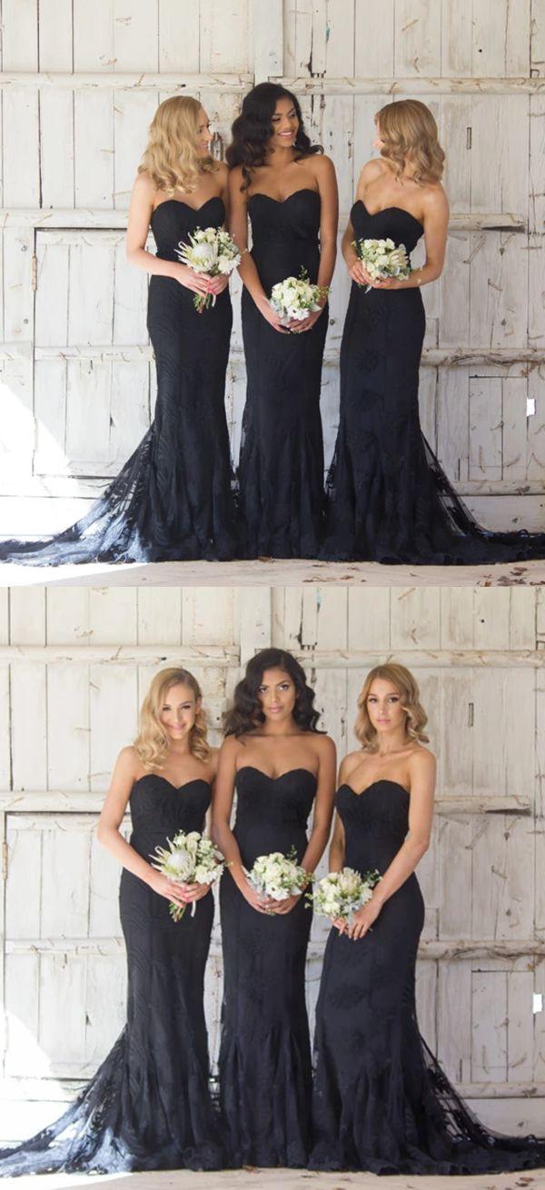 long black bridesmaid dresses, modest mermaid bridesmaid dresses, 2017 sweetheart wedding bridesmaid dresses