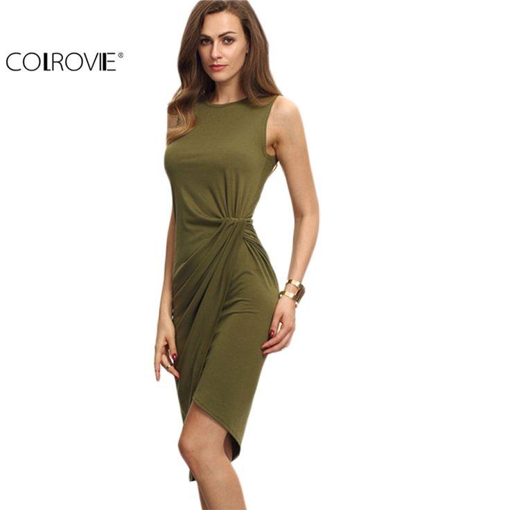 Colrovie女性アーミーグリーンノースリーブ結び目シースdress非対称ラウンドネックノースリーブラップ膝丈dress