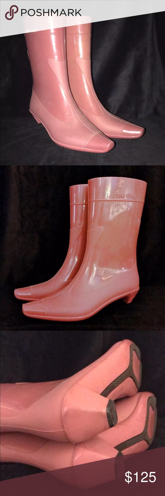 Miu Miu by Prada rubber rain boots Miu Miu by PRADA Rubber rain boots Color: retro pink Made in Italy Size IT 35 US 5 Gently worn, clean in very good conditions Final sale. No trade Priced to sell, NO OFFER Thanks Miu Miu Shoes Winter & Rain Boots
