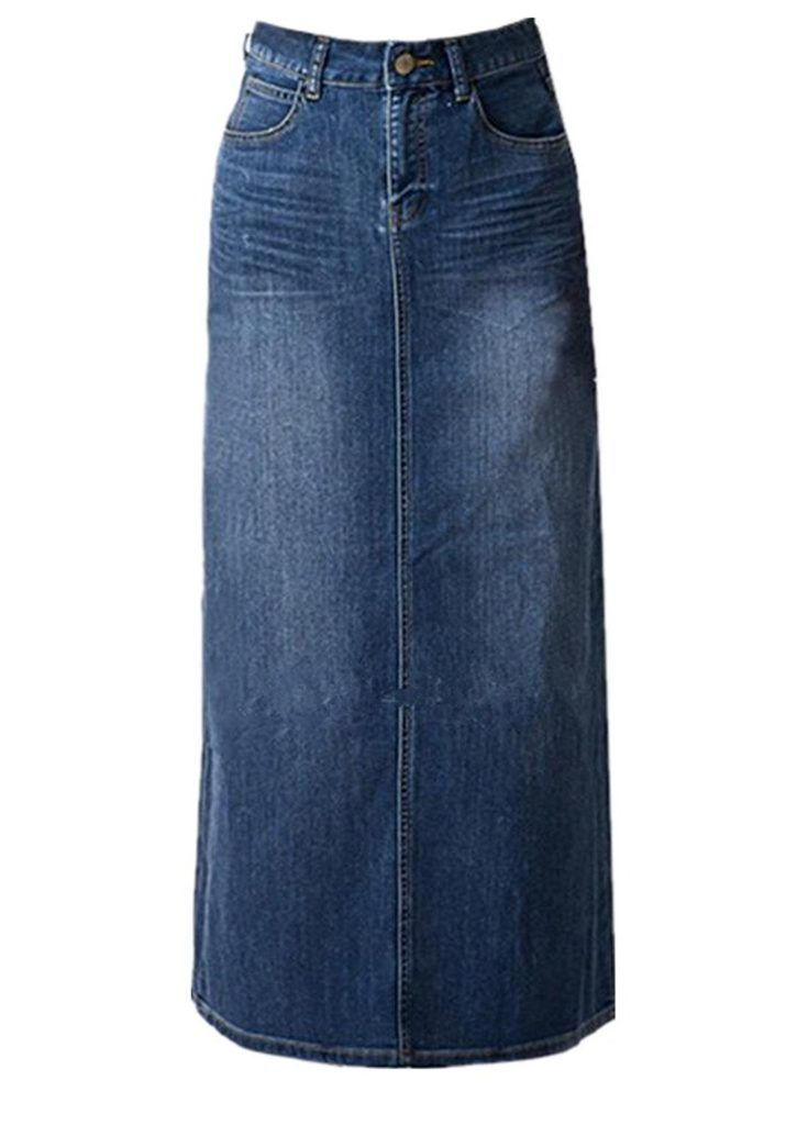 2665cc2f894 Women s Maxi Pencil Jean Skirt- High Waisted A-Line Long Denim Skirts For  Ladies- Blue Jean Skirt