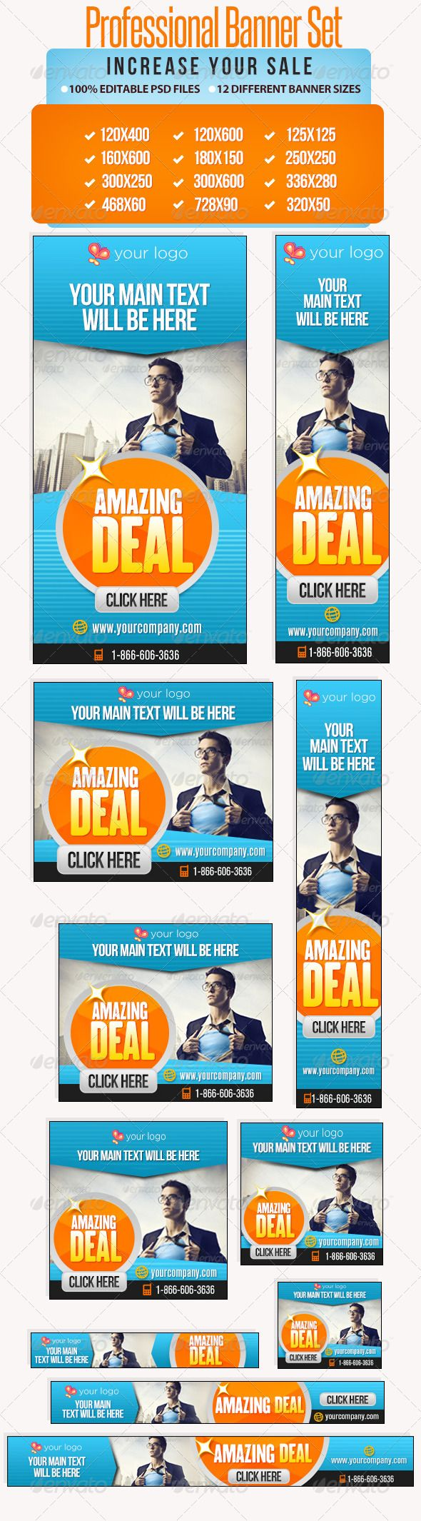 Professional Banner Set with Animation - 12 sizes  #GraphicRiver         Promote your offers or services with this great looking Banner Set.   12 awesome quality banner template PSD files ready for your products, campaigns, services and promotions. Each PSD files are layered and fully organized. You can use this banners for google adwords too. ( All google adwords banner sizes included)   The package also contains a help file & Editable PSDs.   PSD files come with Animated Frames.  …