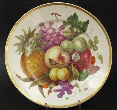 A Well Painted Derby Bone-China Porcelain Dessert Plate, Probably Painted by Thomas Steel (1772-1850). Sumptuously Painted with Fruit, Finished with a Simple Gold Rim. Marked with the Derby Over-Glaze Red Mark