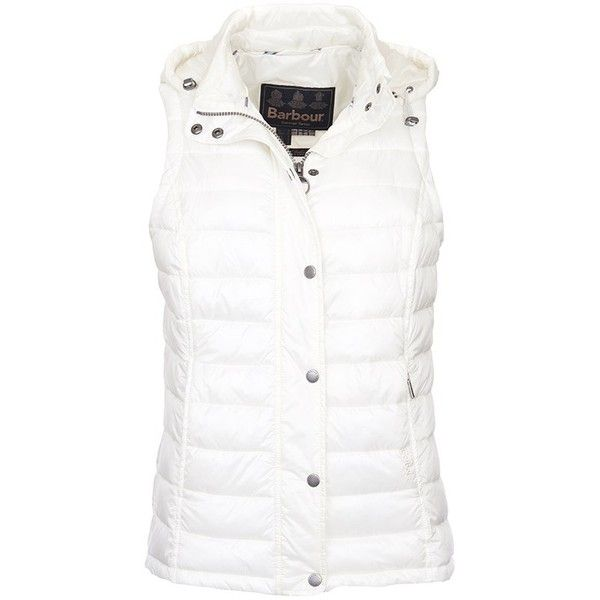 Women's Barbour Hunbleton Quilted Gilet - Cloud ($175) ❤ liked on Polyvore featuring outerwear, vests, barbour, white waistcoat, lightweight vest, barbour gilet and lightweight quilted vest