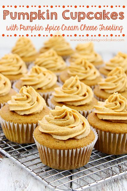 Pumpkin Cupcakes with Pumpkin Spice Cream Cheese Frosting - Full of pumpkin flavor and perfect for Fall baking! #pumpkin #fallbaking by love...