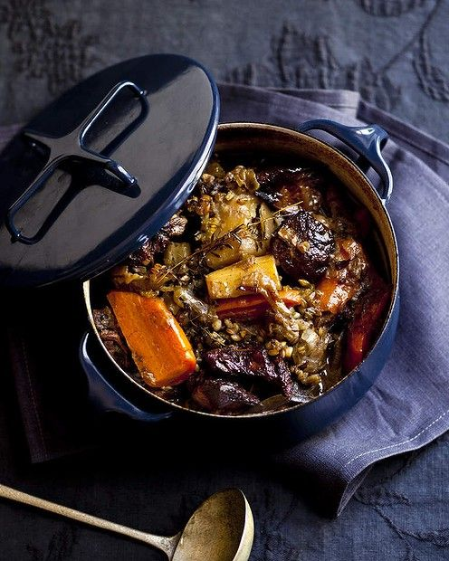 """Karen Martini's braised lamb stew with barley and vegetables <a href=""""http://www.goodfood.com.au/good-food/cook/recipe/braised-lamb-stew-with-barley-and-vegetables-20130603-2nl0w.html""""><b>(RECIPE HERE).</b></a>"""