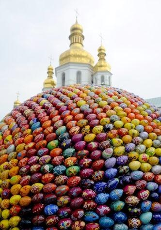 A sculpture made of 3,000 wooden painted Easter eggs constructed at the 1,000 year-old Monastery of Caves in Kiev, Ukraine.