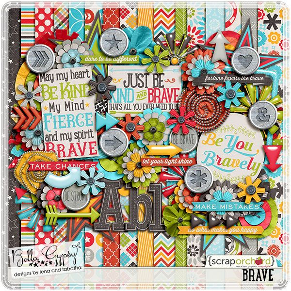 Brave by Bella Gypsy Designs! If you hurry, you can still save 20% off all of the Brave individual products, and save even more if you purchase one of the bundled collections!! #bellagypsy #digitalscrapbooking #digiscrap