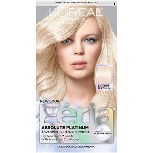 Feria Absolute Platinums Hair Color Extreme Platinum  Taking cues from latest runway trends, feria introduces absolute platinum to achieve the ultimate platinum blonde color. The innovative ammonia-free formula lifts hair up to 7 levels for absolute lightening and uncompromised clarity. The exclusive anti-brass conditioner provides cool tones to help prevent brassiness while leaving hair conditioned.         Feria Absolute Platinums Hair Color Extreme Platinum Features     Multi-face..