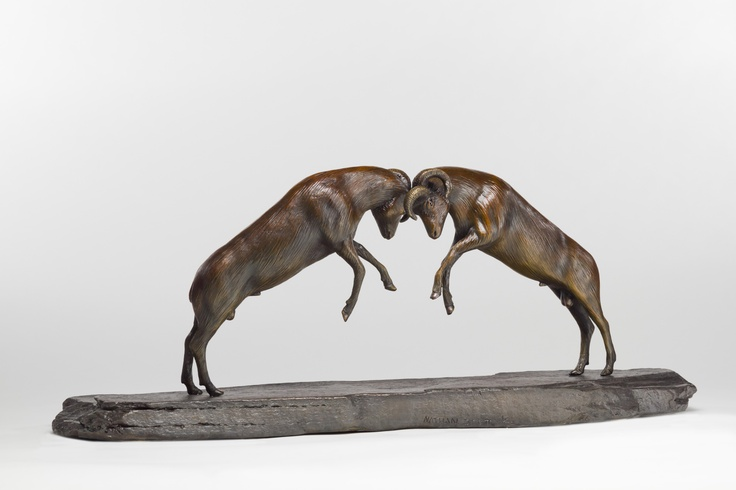 'Rams' by Nathan Scott, www.sculpturebynathanscott.  I sculpted  and cast this piece at my studio in Victoria, BC where I also own and operate my own bronze foundry.  Limited edition of 25.