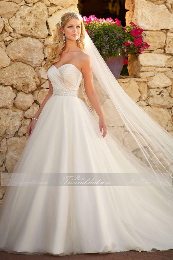 Trendiges Prinzessin Brautkleid mit Kapelle-Schleppe und Herz-Ausschnitt aus Tüll, Satin