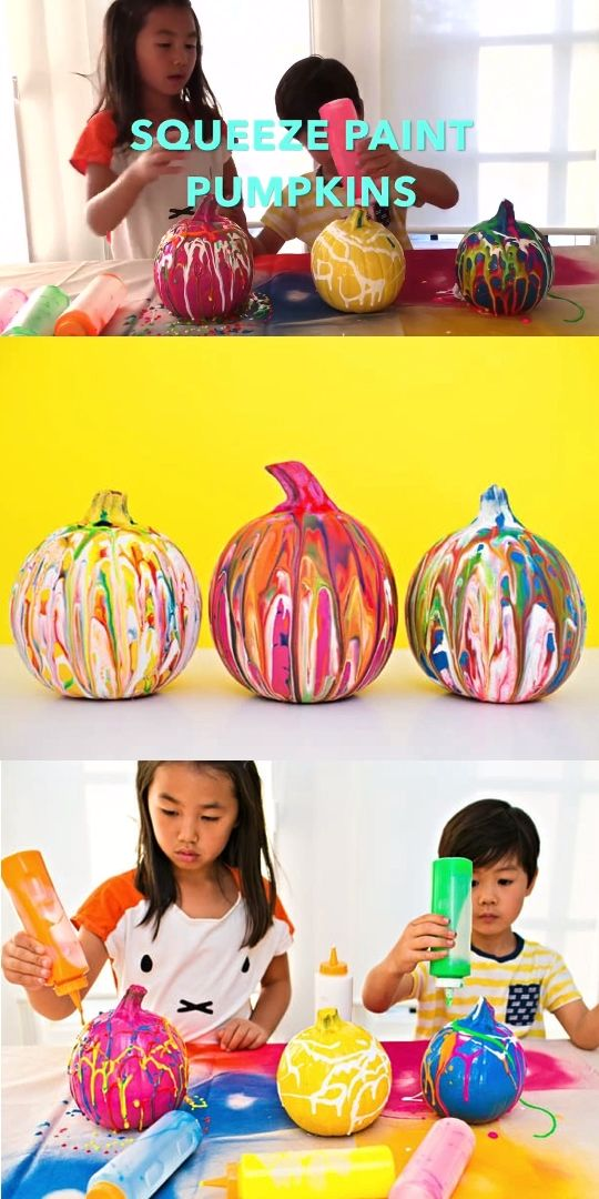 Squeeze Paint Pumpkin Decorating with kids. Easy no carve pumpkin art, painting, and decorating! Check out our tutorial and best paint to use. #hellowonderful