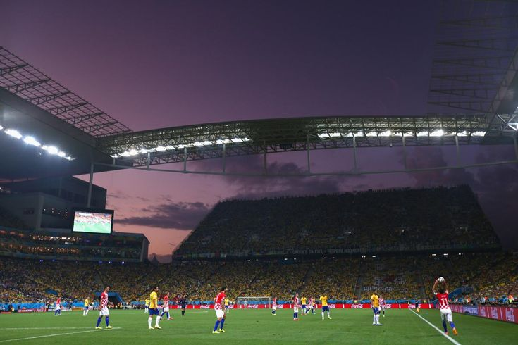 A general view of the arena during the 2014 FIFA World Cup Brazil Group A match between Brazil and Croatia at Arena de Sao Paulo on June 12,...