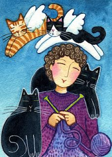 angel kitties, artist Laurel Burch