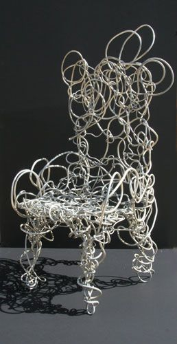 Artist: Forrest Warden Myers Medium: Aluminum Sculpture Chair Size: 50 x 24 x 20 inches