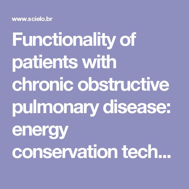 Functionality Of Patients With Chronic Obstructive