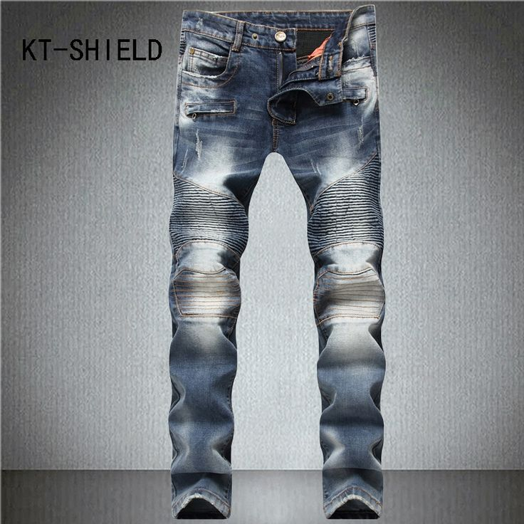Autumn slim straight jean homme Casual Hip hop With zipper denim brand trousers men biker ripped jeans pants pantalones hombre