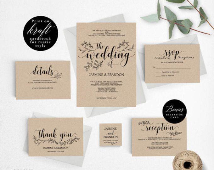 Romantic Rustic Wedding Invitation Template, Wedding Invitation Printable, Invitation  Set, Cheap Invitation,