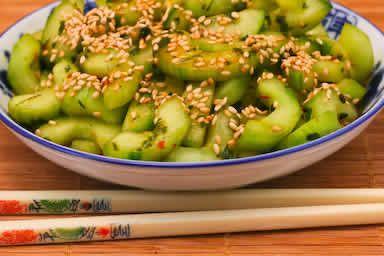 Spicy Cucumber Salad Recipe with Thai Basil and Sesame Seeds: Salad Recipes, Thai Cucumber Salad, Eating, Seeds Recipe, Asian Cucumber Salad, Sesame Seeds, Spicy Cucumber, Healthy Food, Thai Basil