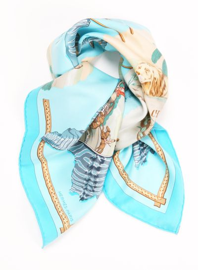 """Hermes Silk Blue """"La Chasse en Afrique"""" Motif Scarf. I sooo shouldn't have gotten this, but it's awesome."""