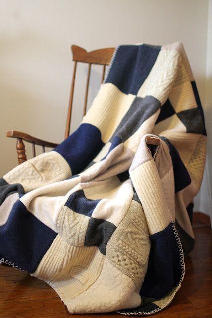 Riutilizzare i maglioni di lana - Coperta patchwork