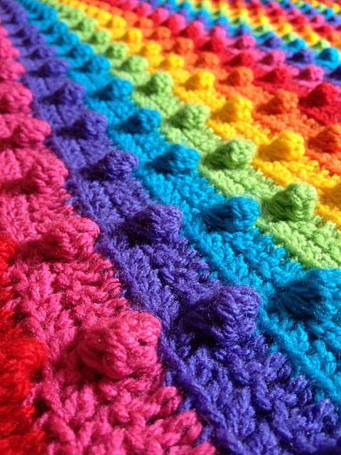 crochet bobble stitch rainbow blanket (step-by-step tutorial, with photos)