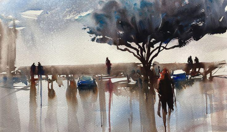 Mdina, Malta. Akvarell av Stefan Gadnell