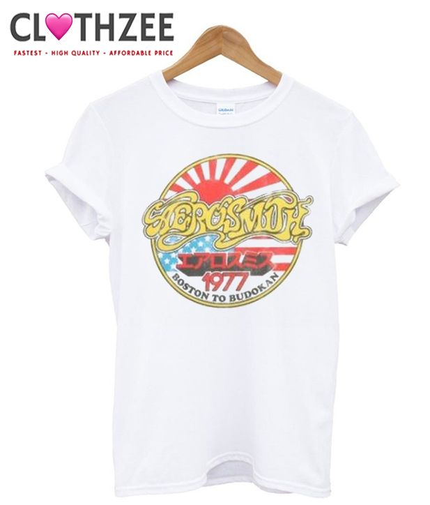 Aerosmith Concert Tour Boston to Budokan 1977 T Shirt from clothzee.com This t-shirt is Made To Order, one by one printed so we can control the quality.