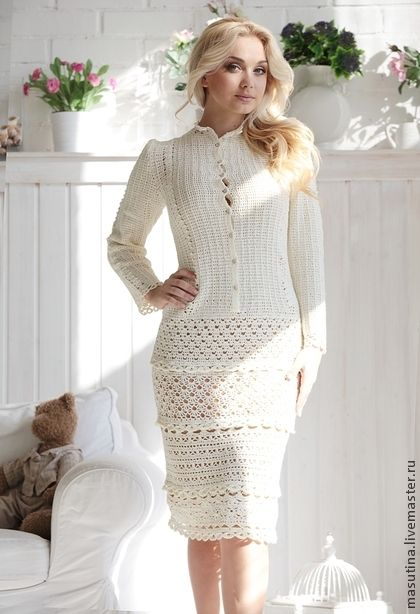 Crochet ensemble with cardigan and skirt