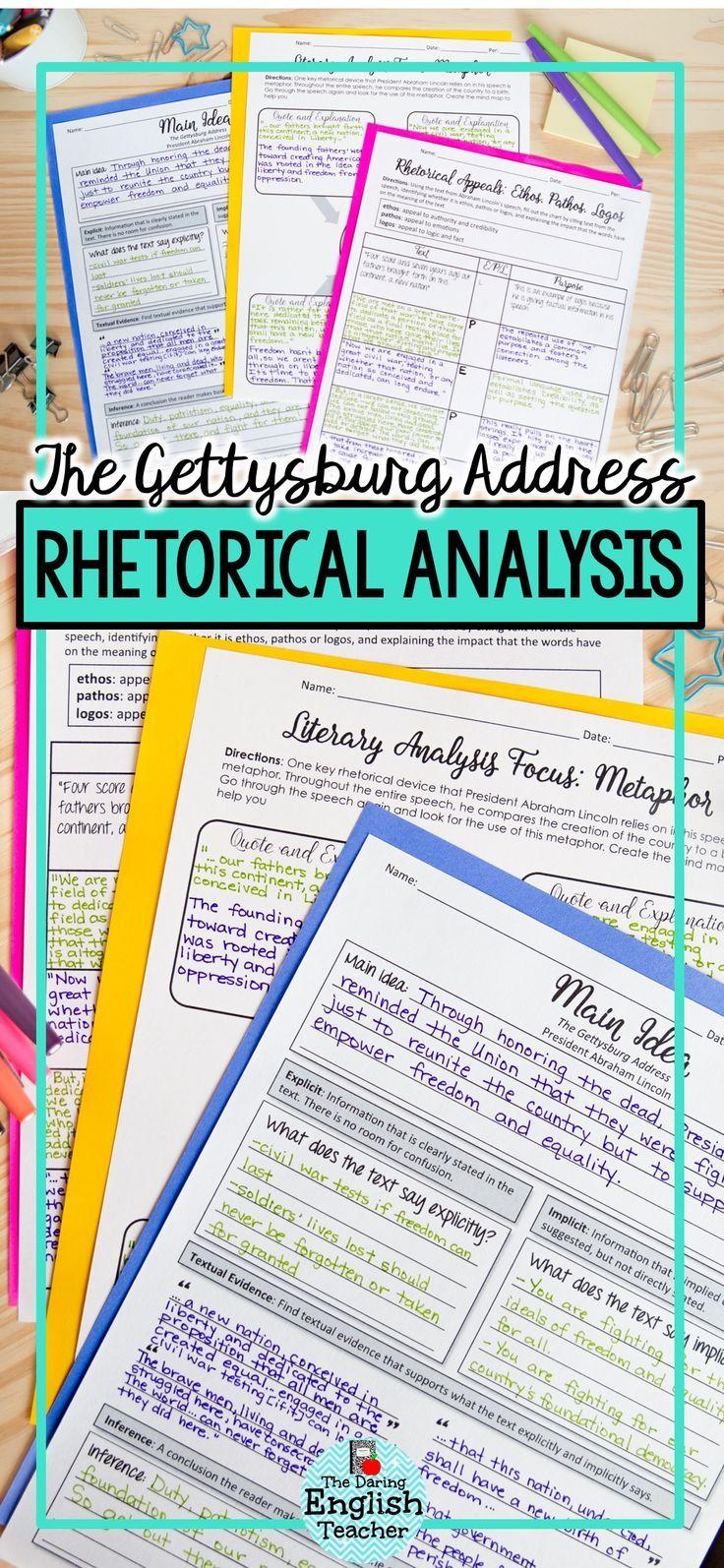 Teach Your Students Rhetorical Analysis With This Gettysburg Address Rhetorical Analysis Activity Unit That Inclu Rhetorical Analysis Rhetoric Writing Rubric