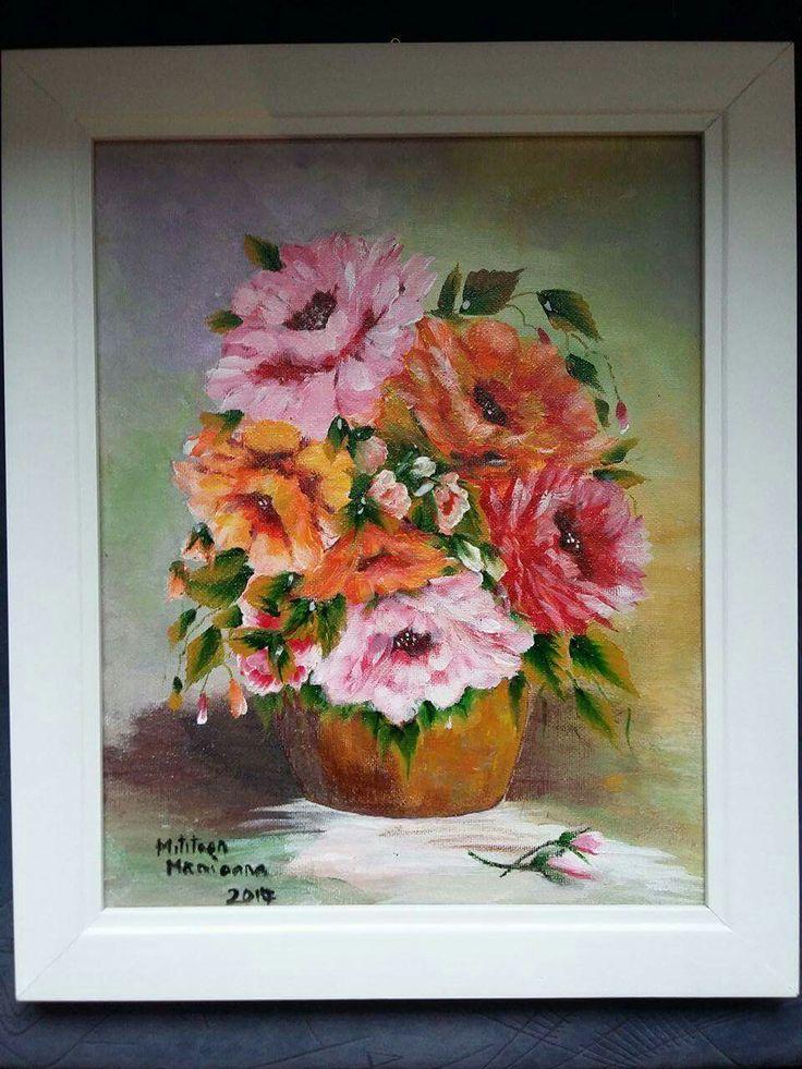Flori(30€) Tablou pictat pe panza Dimensiuni 35/30cm Disponibil
