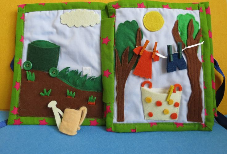 quiet book Water the carrots and pick them to the trolley :) Let the clothes dry on the sun andpic them to the basket :)