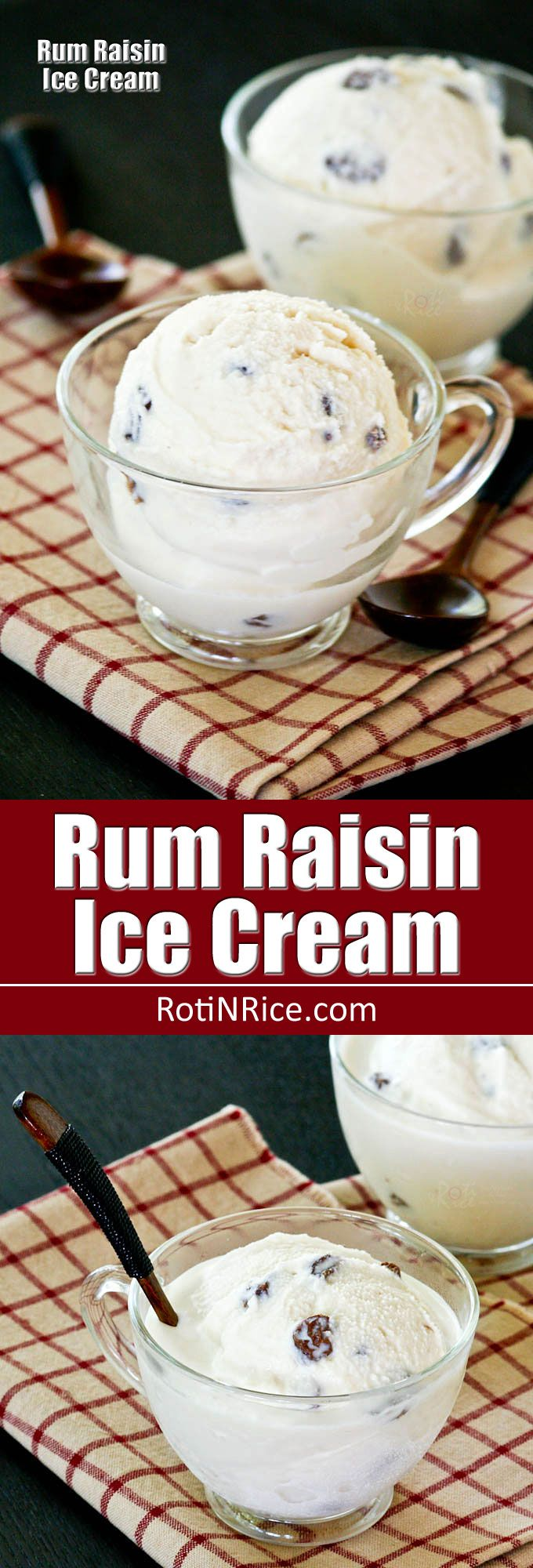 A creamy and luscious summer treat for the adults. This eggless soft serve Rum Raisin Ice Cream is flavored with vanilla and real rum. | RotiNRice.com
