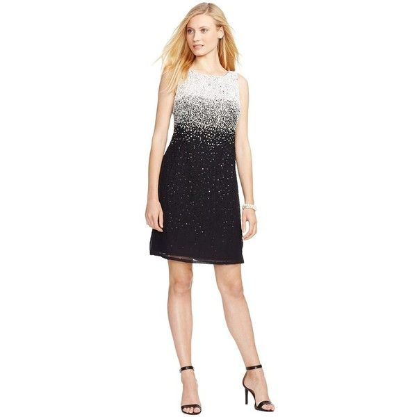 Lauren Ralph Lauren Ombre Embellished Georgette Sheath Dress (£215) ❤ liked on Polyvore featuring dresses, petite, black sleeveless dress, black sequin dress, black beaded cocktail dress, sheath dress and black sheath dress