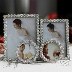 """[ 27% OFF ] 6Inch 3"""" Colorful Rhinestone Wedding Photo Frame Crystal Metal Alloy Bridal Baby Picture Frames Shower Favor Gifts Home Decor"""