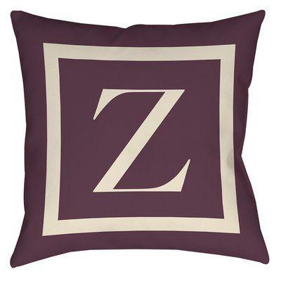 "Red Barrel Studio Lansdowne Outdoor Pillow Cover Size: 18"" H x 18"" W x 5"" D, Color: Eggplant, Letter: Z"