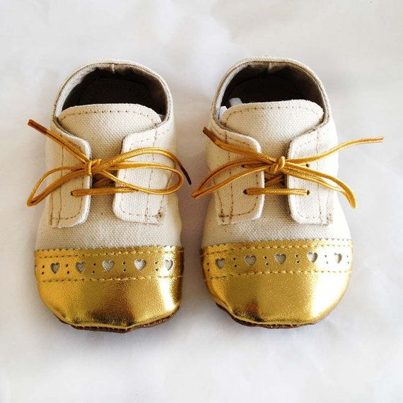 Too much? Custom Baby Toddler Shoes Canvas with Gold Brogued by ajalor, $34.00