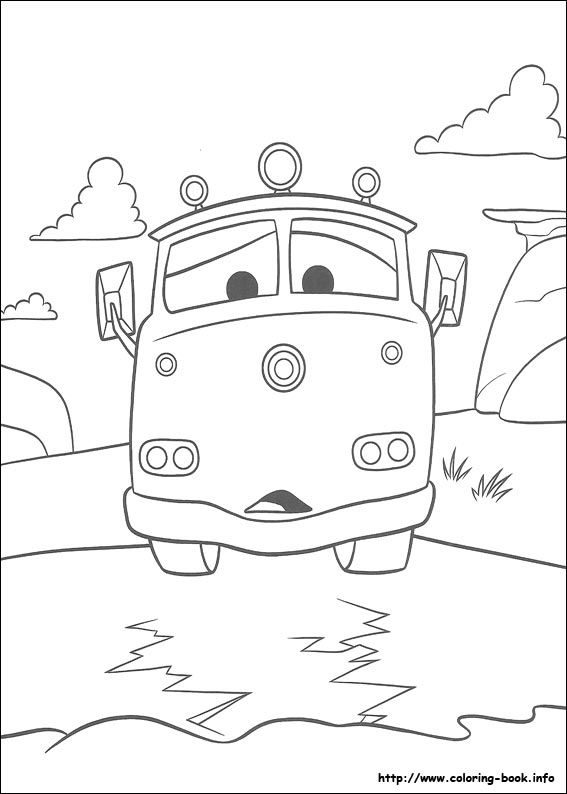 Cars Red Fire Truck Coloring Page
