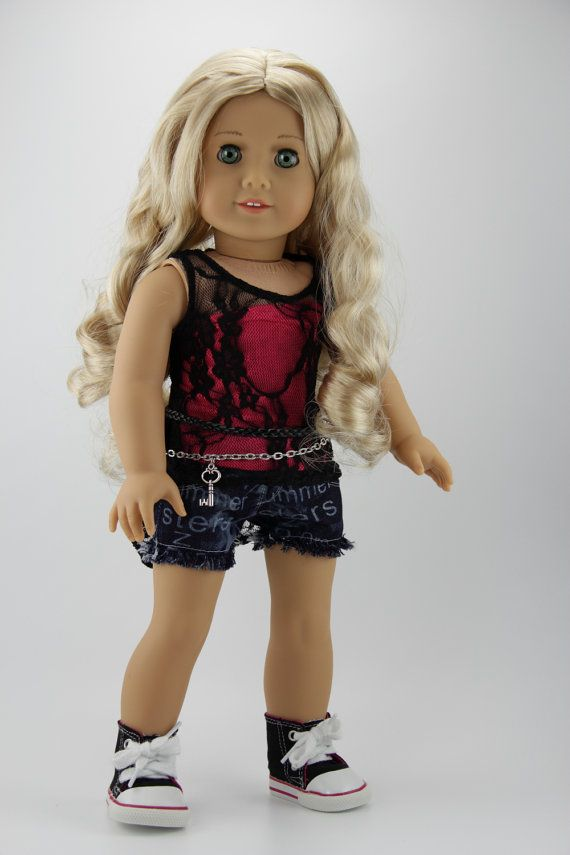 Shorts Outfit for AG dolls - High low Lace Tank Top, pink Bandeau Top, Denim Shorts & Belt by DolliciousClothes on Etsy