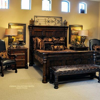 Tuscan Style Bed with High Headboard Rustic Bedroom Furniture Platform Beds