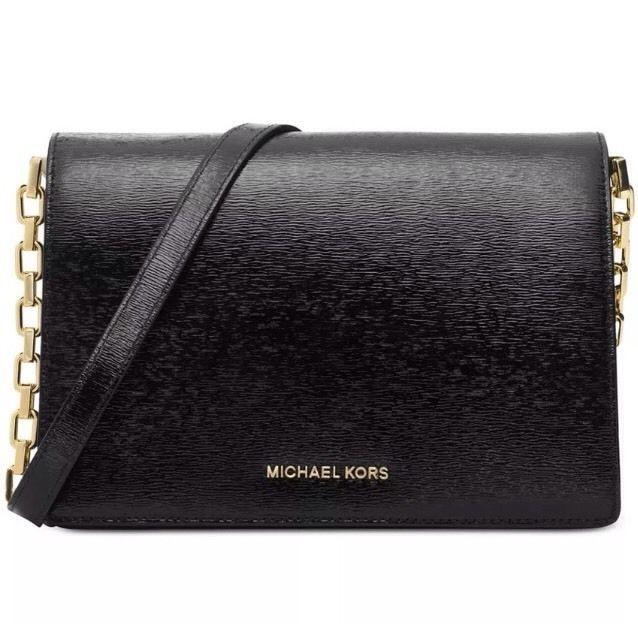Michael Kors Brinkley Large Bark Patent Leather Black Purse Gold Chain   eBay