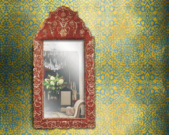 Tapeten Marokkanische Muster : Large Moroccan Wall Stencil