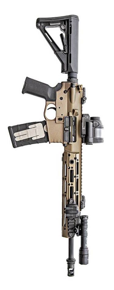 Remington Arms Company upper, Trijicon, Inc. SRS optic, Magpul Industries Corp. Furniture, SureFire, LLC, and CMT Tactical lower. By Stickman.