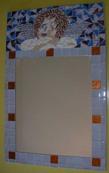 Watching Over You - Mosaic mirror with glass and river tiles