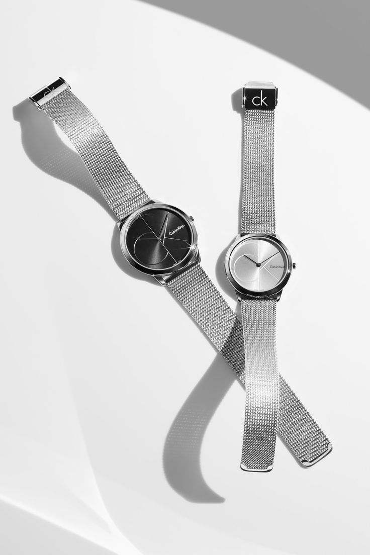 The Calvin Klein minimal extension mesh watch, designed with polished stainless steel.
