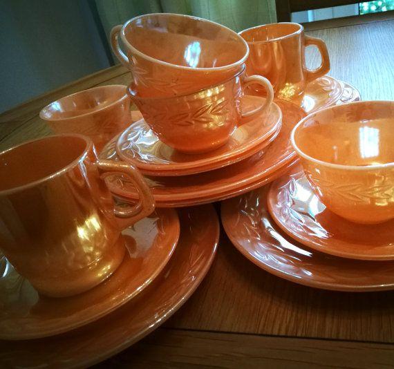 Anchor Hocking Fire King peach lustre laurel leaf tea set, 1950's coffee set, 4 tea cups, 6 saucers, 2 coffee cups, 6 side plates, 6 trios